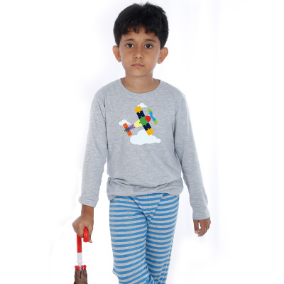 Grey Full Sleeve Boys Pyjama - Aeroplane